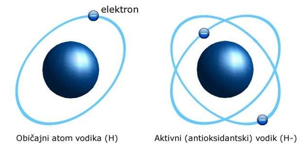 Obicajni atom vodika (H) Aktivni (antioksidantski) vodik (H-)